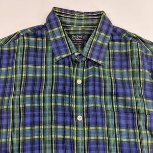 Nat Nast 100% Linen Plaid Button Up Shirt